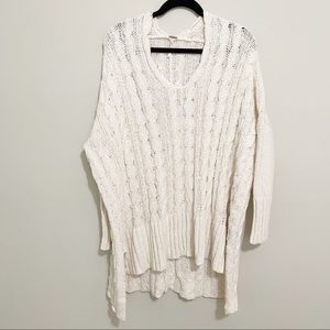Free People V Neck Easy Knit Cable Sweater M